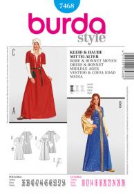 Middeleeuwse jurk (maat 36-54), Burda 7468