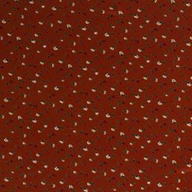 brique stretch tricot bedrukt met rode en creme bloemen