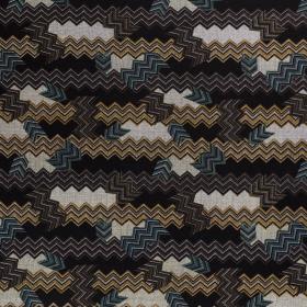 zwart punta di roma met petrol oker bruin zigzag discharge print