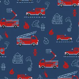 donkerblauw katoenen jersey met rode brandweerwagens
