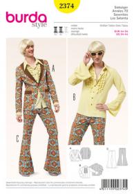 Seventies jasje, overhemd en broek met uitlopende pijpen (maat 44-54), Burda 2374
