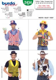 Gilet voor diverse carnavalscostuums (maat 44-60), Burda 2434