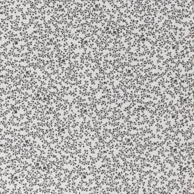 wit satijn katoen met zwart millefleurs dessin