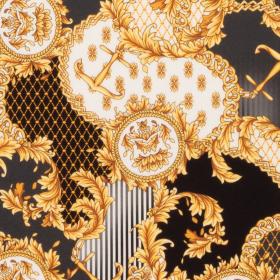 zwart stretch zijde crepe satijn met goud wit barok dessin Italiaans import
