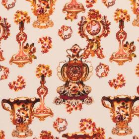 beige stretch zijde crepe satijn met koper roze barok dessin Italiaans import