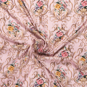 roze pastel stretch zijde crepe satijn met goudkleurig en gebloemd barok dessin Italiaans import
