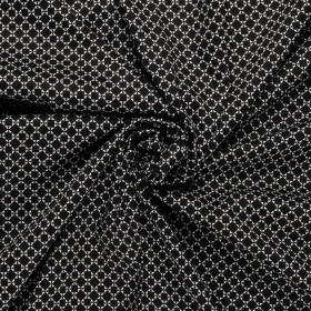 pique katoen stretch met zwart wit grafisch blokjes dessin Italiaans import