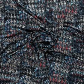 zwart wit aqua taupe stretch tricot met fantasie pied de coque dessin bedrukt