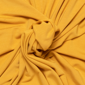 mosterd geel stretch tricot van bamboe