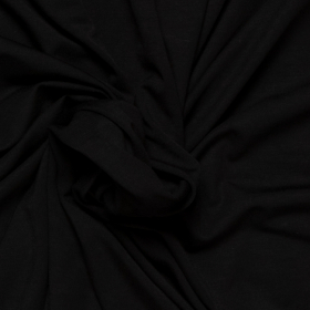 zwart stretch tricot van bamboe
