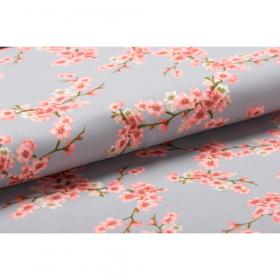 pastel grijs GOTS gecertificeerd soft sweat met bloesem dessin