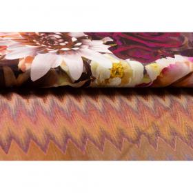 zigzag stretch tricot met gekleurde bloem print Italiaans import panel