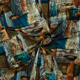 stretch tricot met petrol koper fantasie dessin italiaans import