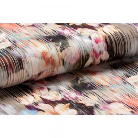 stretch satijnkatoen met aubergine koraal room streep bloem dessin