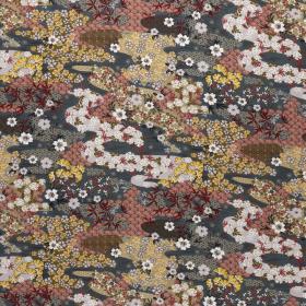 graphite viscose poplin met gekleurd bloem dessin