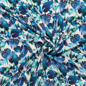 Fashion Trends off white crepe viscose met kobalt paars groen bladdessin