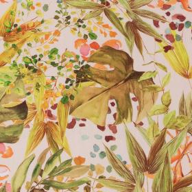 room roze viscose poplin met groen geel blad dessin