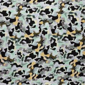 viscose poplin met zwart grijs mint mais groen camouflage print