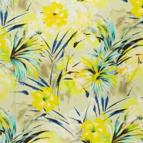 Fashion Trends linnen katoen met citroen aqua zwart bloem dessin Italiaans import