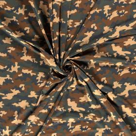 katoen stretch tricot met groen bruin beige camouflage print
