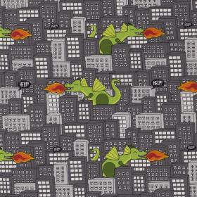 grijs city katoen stretch jersey met groen draak dessin