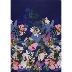 kobaltblauw crepe zijde viscose panel met bloem dessin Italiaans import