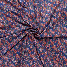 kobalt satijn katoen stretch met rood roze fijn bloem dessin italiaans import
