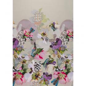 zandgrijs crepe zijde viscose panel met bloem dessin Italiaans import