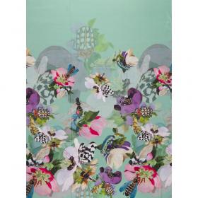 mint crepe zijde viscose panel met bloem dessin Italiaans import