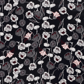 diepblauw satijn katoen met stretch met getekend wit rood bloem dessin