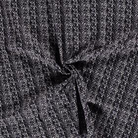 satijnkatoen met stretch blauw zwart grijs wit fijn bedrukt