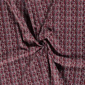 satijnkatoen met stretch rood zwart grijs wit fijn bedrukt