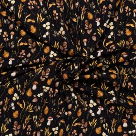 zwart stretch jersey katoen met oker bruin mos bladeren dessin