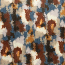 blauw koper oranje beige gewolkt satijnkatoen met stretch italiaans import