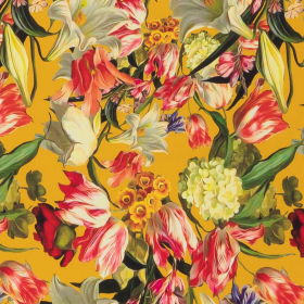 geel viscose met zomerbloemen