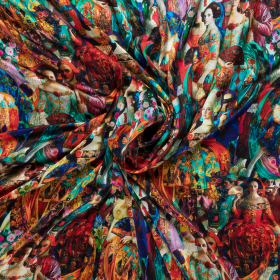 multi color stretch zijde met victorian style dessin italiaans import