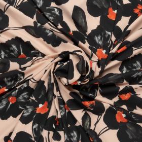 poeder micro crepe stretch met zwart rood bloem dessin italiaans import