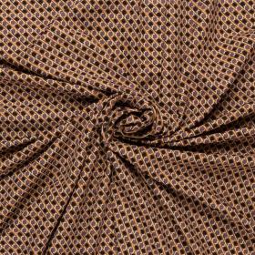 micro crepe stretch met camel zwart paars grafisch dessin italiaans import