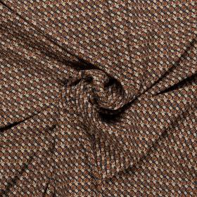 micro crepe stretch met bruin zwart ecru grafisch dessin italiaans import