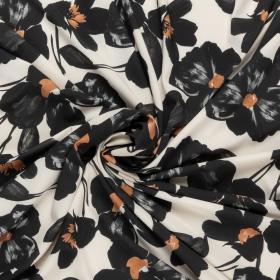 off white micro crepe stretch met zwart camel bloem dessin italiaans import