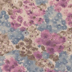 poederroze tricot met paars blauw bruin bloem dessin italiaans import