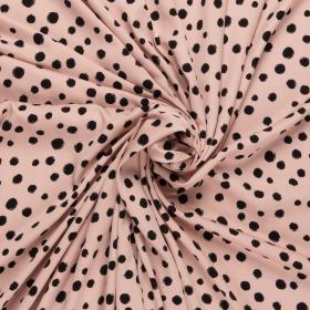 roze pastel viscose twill met zwart stip dessin