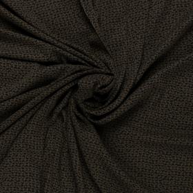 donkergroen viscose twill met zwart abstract dessin