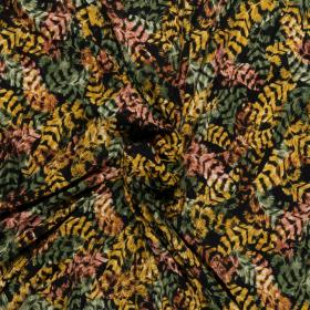 zwart stretch tricot met oker groen bruin veren dessin