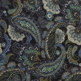 antraciet angoralook jersey met kobalt groen paisley dessin