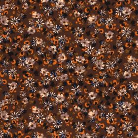bruin bubble chiffon oranje zwart room fijn gebloemd