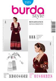 Renaissance jurk (maat 36-50), Burda 7171