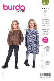 jurk en shirt (maat 110-140) Burda 9274