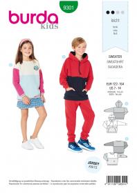 sweater (maat 122-164) Burda 9301