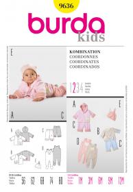 Babypakje, broekje, jasje en mutsje (maat 56-80), Burda 9636